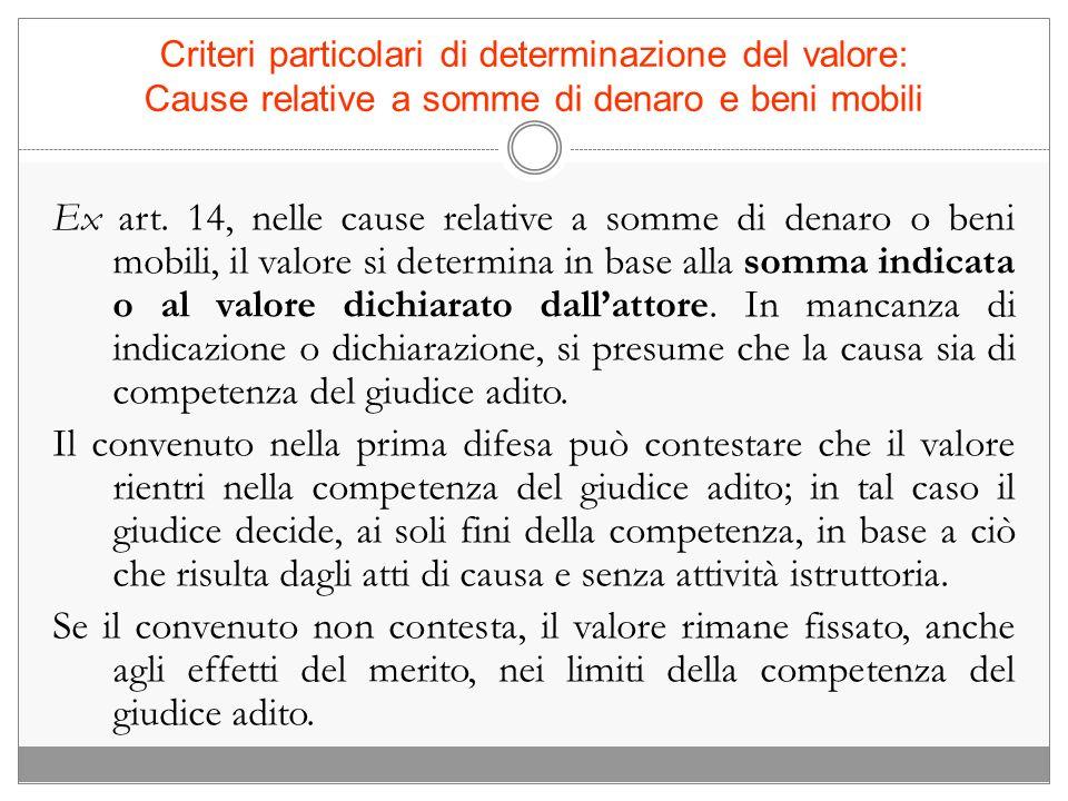 Criteri particolari di determinazione del valore: Cause relative a somme di denaro e beni mobili Ex art. 14, nelle cause relative a somme di denaro o
