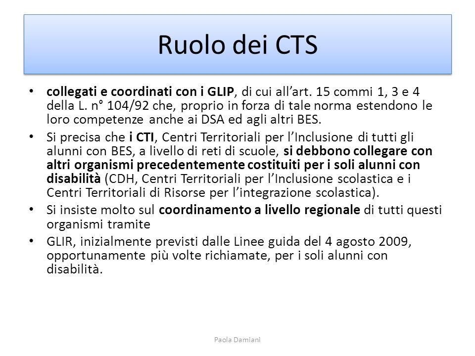 Ruolo dei CTS collegati e coordinati con i GLIP, di cui allart. 15 commi 1, 3 e 4 della L. n° 104/92 che, proprio in forza di tale norma estendono le