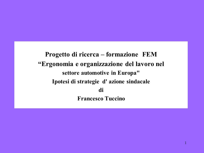 1 Progetto di ricerca – formazione FEM Ergonomia e organizzazione del lavoro nel settore automotive in Europa