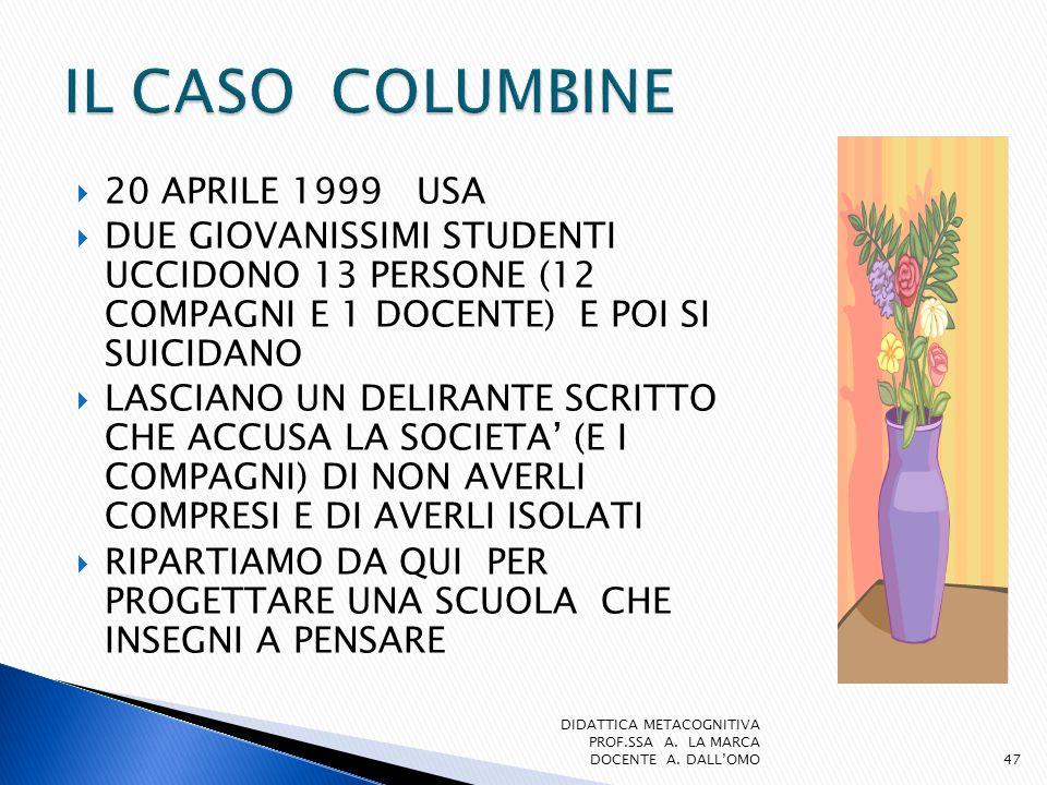 20 APRILE 1999 USA DUE GIOVANISSIMI STUDENTI UCCIDONO 13 PERSONE (12 COMPAGNI E 1 DOCENTE) E POI SI SUICIDANO LASCIANO UN DELIRANTE SCRITTO CHE ACCUSA
