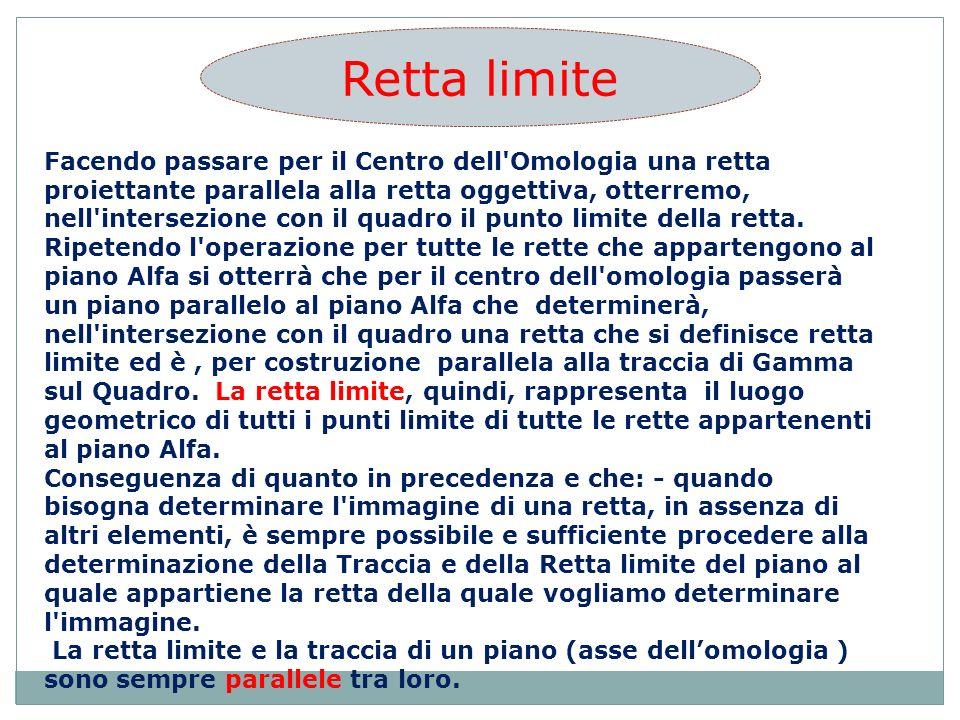 Facendo passare per il Centro dell Omologia una retta proiettante parallela alla retta oggettiva, otterremo, nell intersezione con il quadro il punto limite della retta.