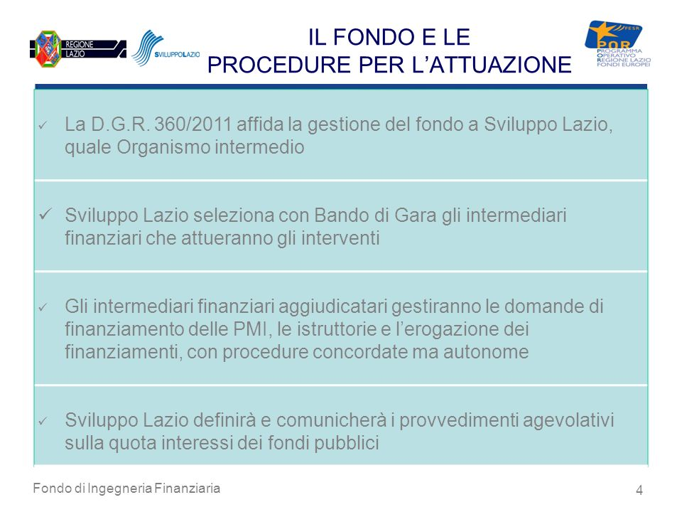 Fondo di Ingegneria Finanziaria 4 IL FONDO E LE PROCEDURE PER LATTUAZIONE La D.G.R. 360/2011 affida la gestione del fondo a Sviluppo Lazio, quale Orga