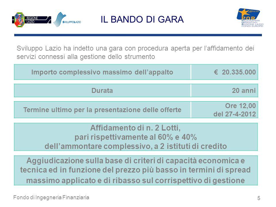Fondo di Ingegneria Finanziaria 5 IL BANDO DI GARA Sviluppo Lazio ha indetto una gara con procedura aperta per laffidamento dei servizi connessi alla