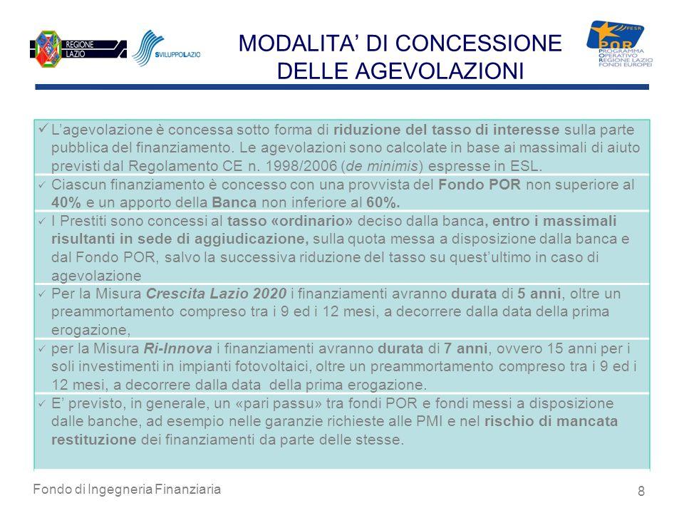 Fondo di Ingegneria Finanziaria 8 MODALITA DI CONCESSIONE DELLE AGEVOLAZIONI Lagevolazione è concessa sotto forma di riduzione del tasso di interesse