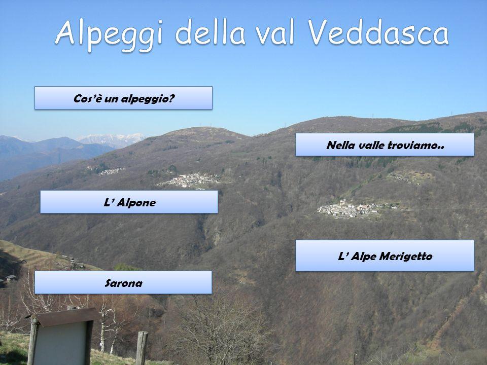 Cosè un alpeggio? Nella valle troviamo.. L Alpone Sarona L Alpe Merigetto