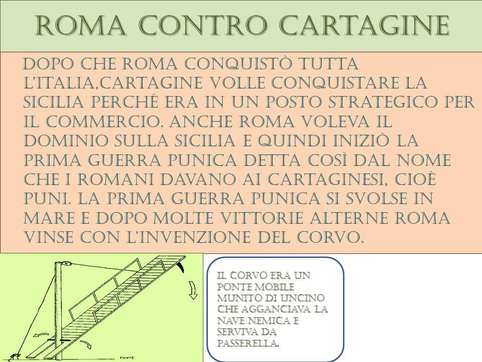 Roma contro cartagine Dopo che roma conquistò tutta litalia,cartagine volle conquistare la sicilia perché era in un posto strategico per il commercio.