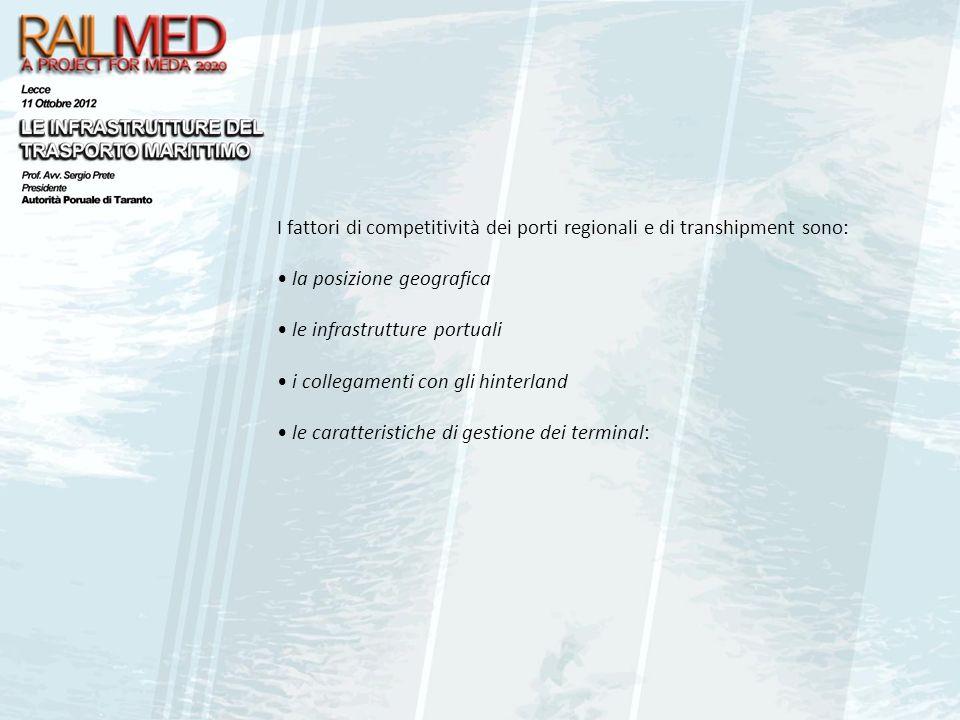 I fattori di competitività dei porti regionali e di transhipment sono: la posizione geografica le infrastrutture portuali i collegamenti con gli hinte