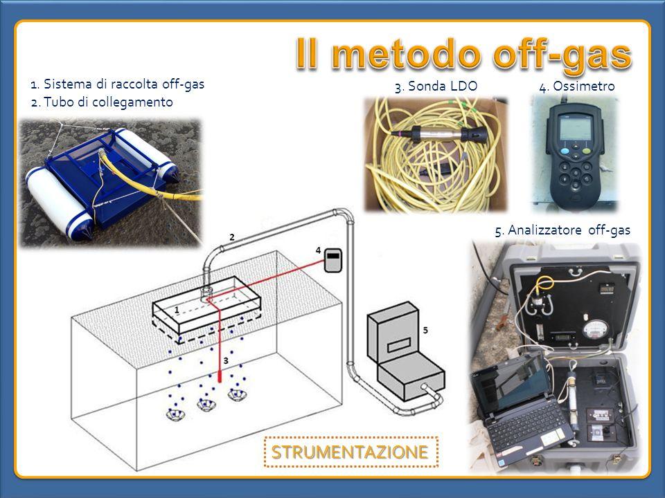 5. Analizzatore off-gas 1. Sistema di raccolta off-gas 2. Tubo di collegamento 3. Sonda LDO4. Ossimetro STRUMENTAZIONE