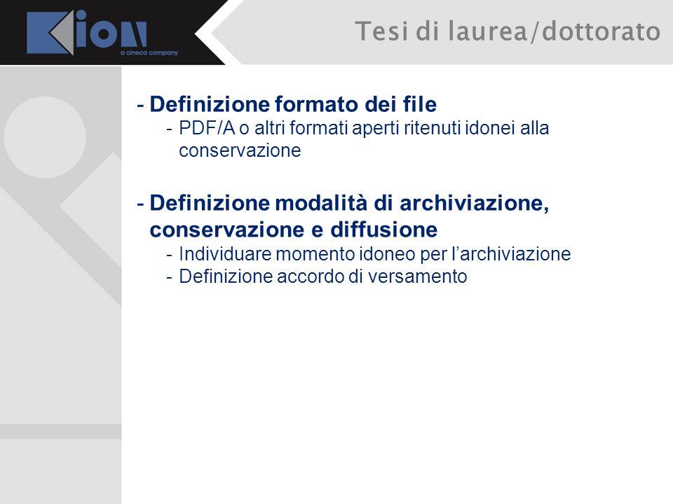 -Definizione formato dei file -PDF/A o altri formati aperti ritenuti idonei alla conservazione -Definizione modalità di archiviazione, conservazione e diffusione -Individuare momento idoneo per larchiviazione -Definizione accordo di versamento Tesi di laurea/dottorato