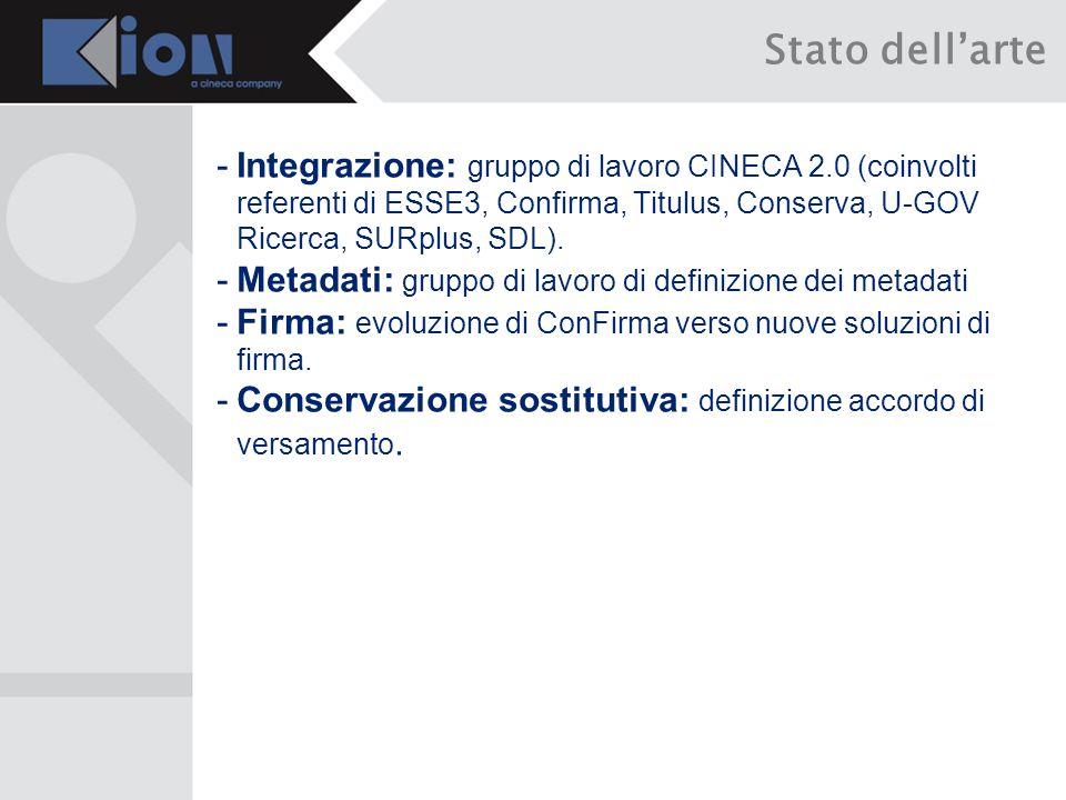 -Integrazione: gruppo di lavoro CINECA 2.0 (coinvolti referenti di ESSE3, Confirma, Titulus, Conserva, U-GOV Ricerca, SURplus, SDL).