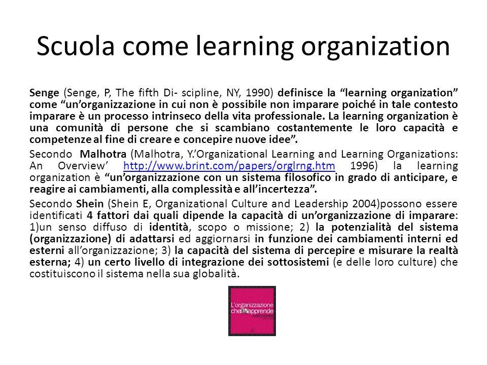 Scuola come learning organization Senge (Senge, P, The fifth Di- scipline, NY, 1990) definisce la learning organization come unorganizzazione in cui n