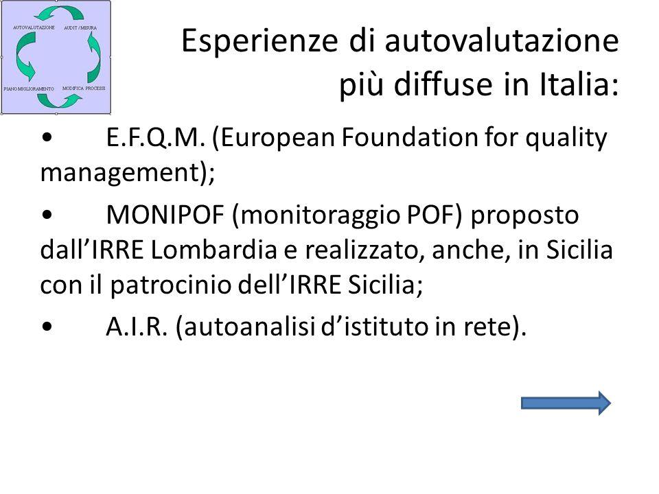 Esperienze di autovalutazione più diffuse in Italia: E.F.Q.M. (European Foundation for quality management); MONIPOF (monitoraggio POF) proposto dallIR