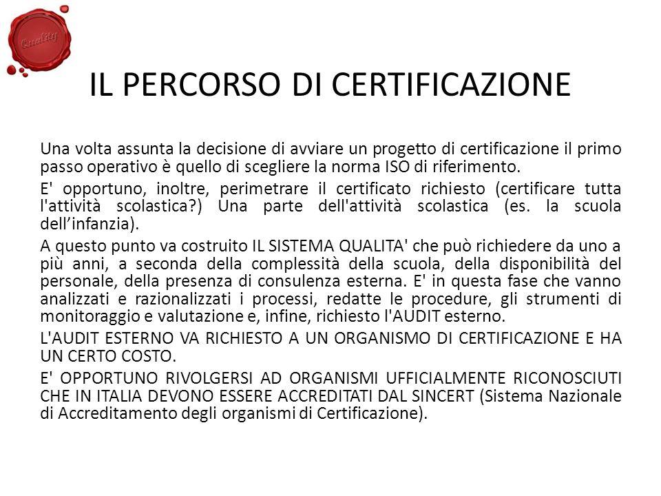 IL PERCORSO DI CERTIFICAZIONE Una volta assunta la decisione di avviare un progetto di certificazione il primo passo operativo è quello di scegliere l