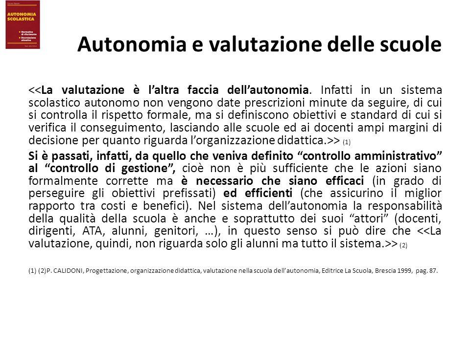 Autonomia e valutazione delle scuole > (1) Si è passati, infatti, da quello che veniva definito controllo amministrativo al controllo di gestione, cio