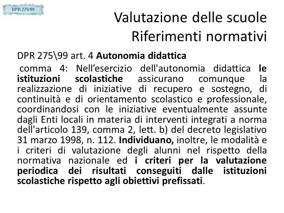 Valutazione delle scuole Riferimenti normativi DPR 275\99 art. 4 Autonomia didattica comma 4: Nellesercizio dell'autonomia didattica le istituzioni sc