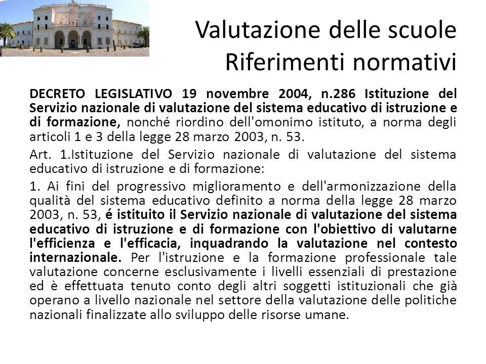 Valutazione delle scuole Riferimenti normativi DECRETO LEGISLATIVO 19 novembre 2004, n.286 Istituzione del Servizio nazionale di valutazione del siste