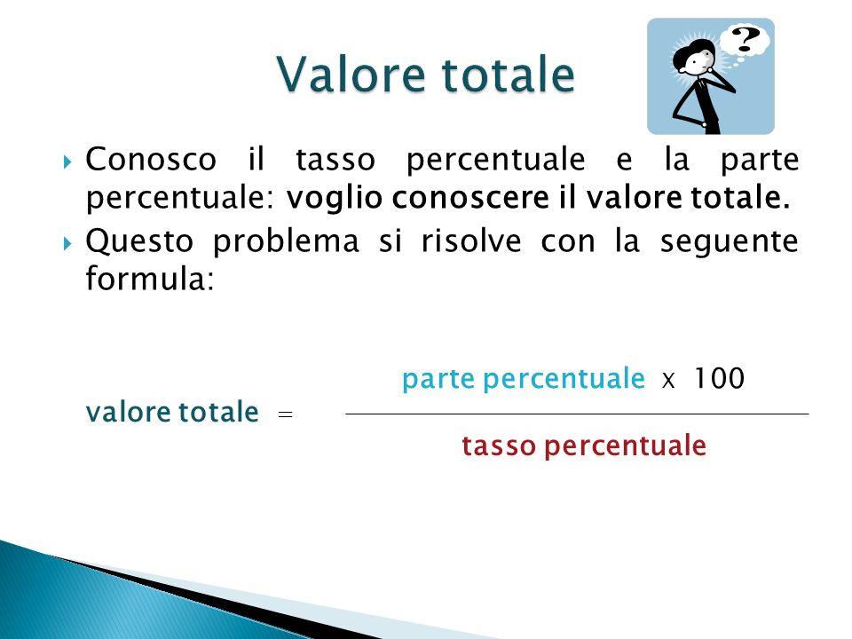 Conosco il tasso percentuale e la parte percentuale: voglio conoscere il valore totale. Questo problema si risolve con la seguente formula: parte perc