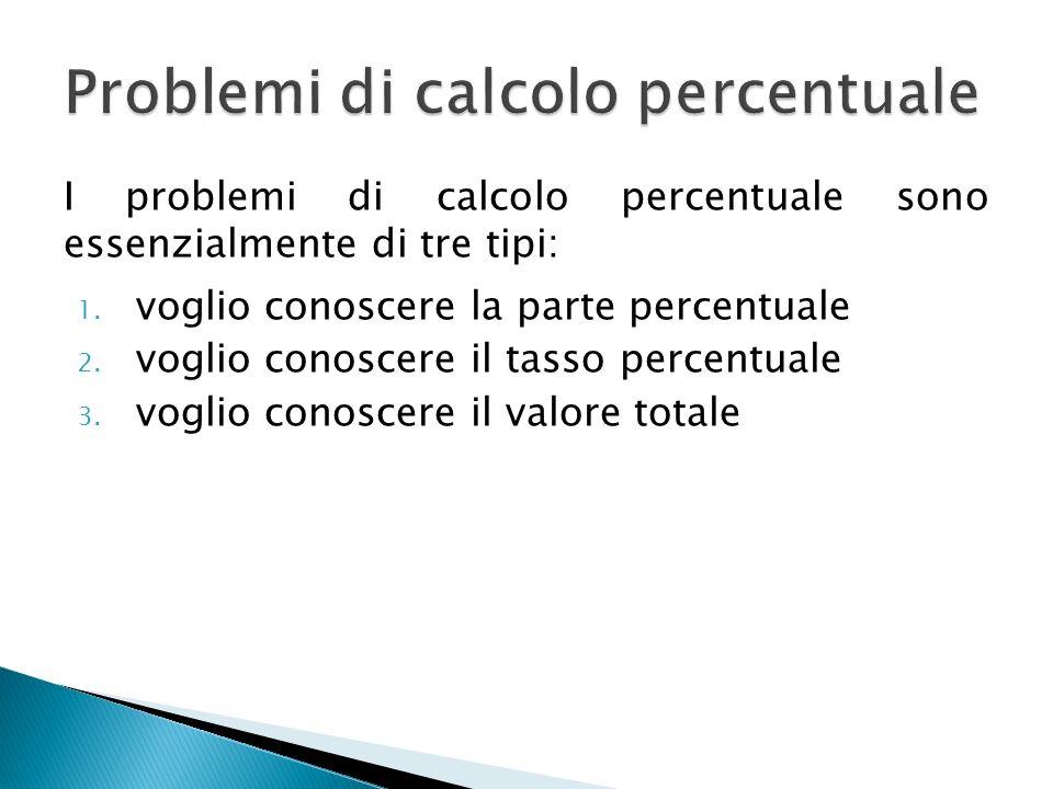 I problemi di calcolo percentuale sono essenzialmente di tre tipi: 1. voglio conoscere la parte percentuale 2. voglio conoscere il tasso percentuale 3