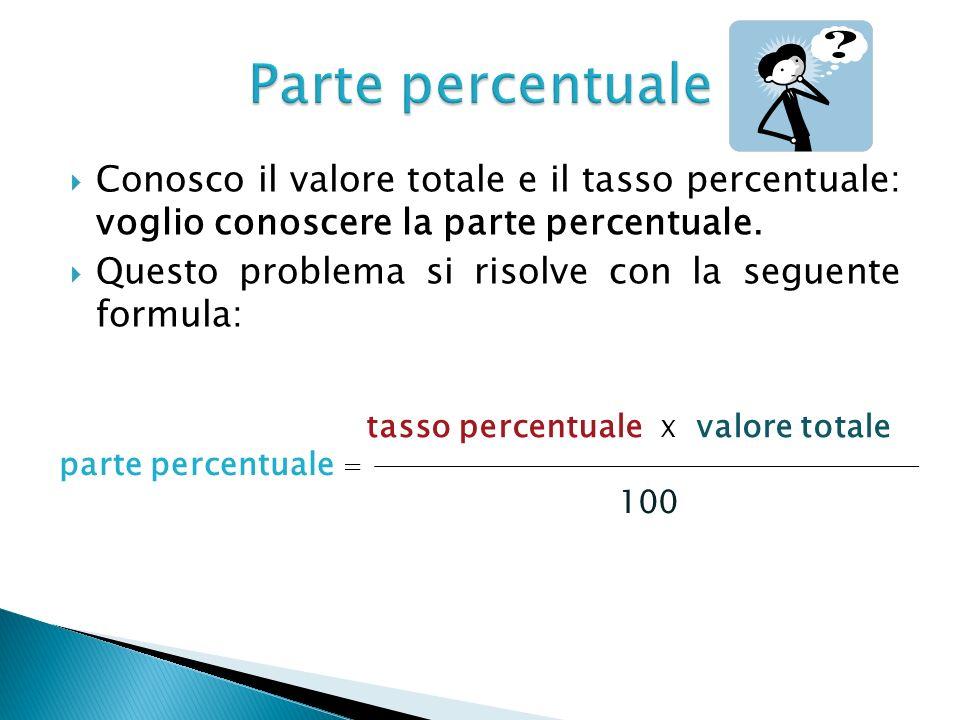 Conosco il valore totale e il tasso percentuale: voglio conoscere la parte percentuale. Questo problema si risolve con la seguente formula: tasso perc