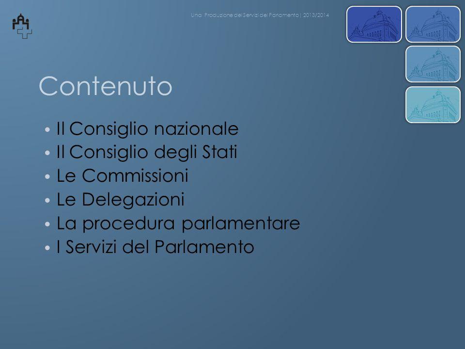 Contenuto Il Consiglio nazionale Il Consiglio degli Stati Le Commissioni Le Delegazioni La procedura parlamentare I Servizi del Parlamento Una Produzi