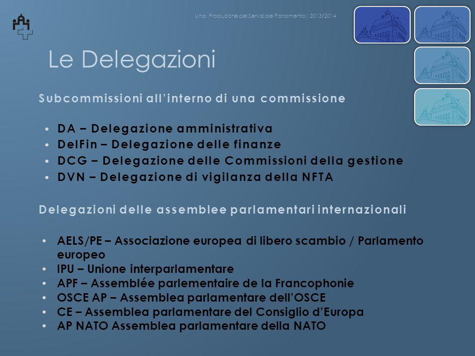 Le Delegazioni DA – Delegazione amministrativa DelFin – Delegazione delle finanze DCG – Delegazione delle Commissioni della gestione DVN – Delegazione
