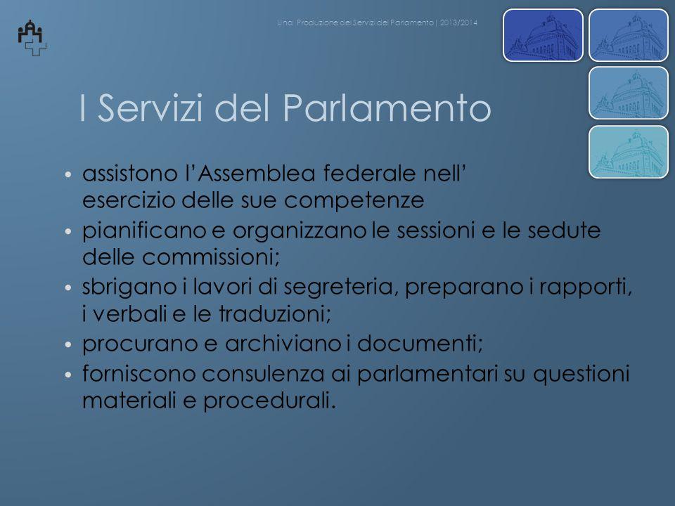I Servizi del Parlamento assistono lAssemblea federale nell esercizio delle sue competenze pianificano e organizzano le sessioni e le sedute delle com