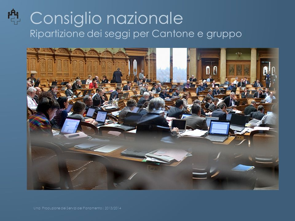 Consiglio nazionale Ripartizione dei seggi per Cantone ZH 34 BE 26 VD 18 AG 15 SG 12 GE 11 LU 10 UR 1 SO 7 BL 7 VS 7 FR 7 GL 1 AI 1 NW 1 OW 1ZG 3 NE 5 SZ 4 AR 1 JU 2 SH 2 TG 6 BS 5 GR 5 TI 8 Una Produzione dei Servizi del Parlamento| 2013/2014