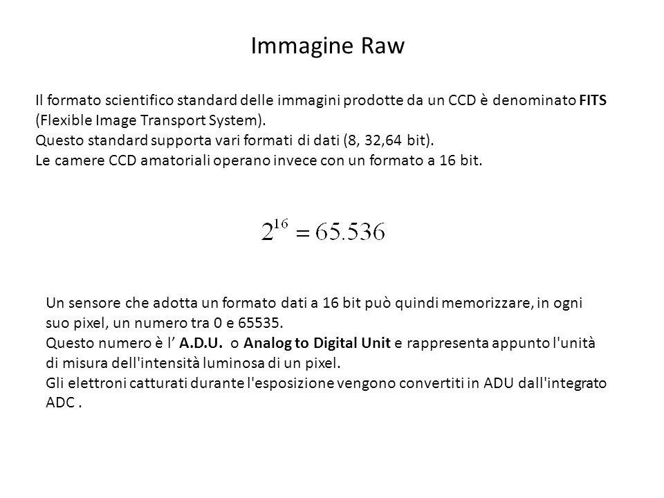 Immagine Raw Il formato scientifico standard delle immagini prodotte da un CCD è denominato FITS (Flexible Image Transport System). Questo standard su