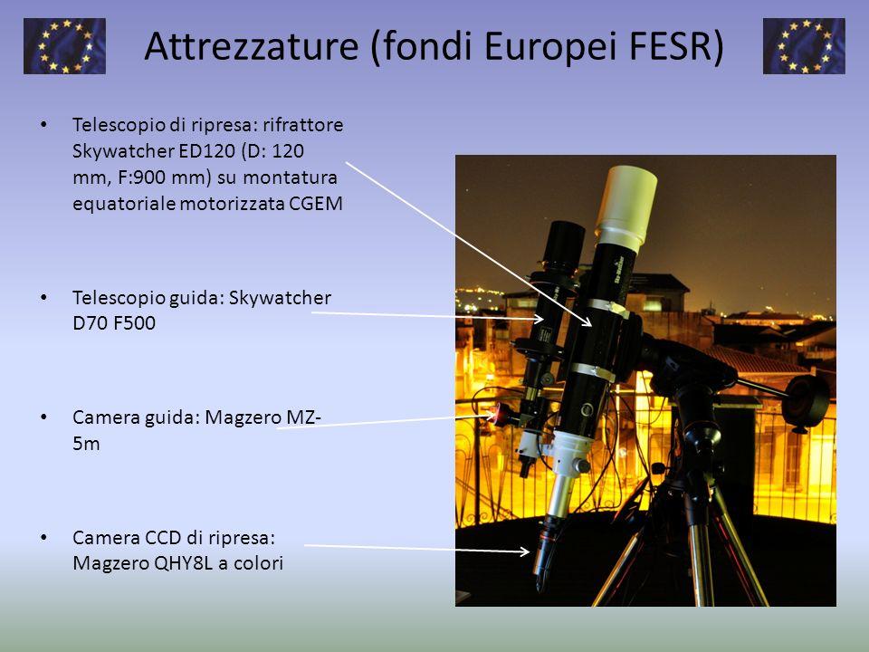 Attrezzature (fondi Europei FESR) Telescopio di ripresa: rifrattore Skywatcher ED120 (D: 120 mm, F:900 mm) su montatura equatoriale motorizzata CGEM T