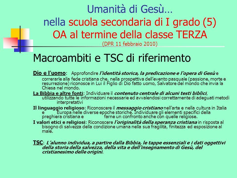Umanità di Gesù… nella scuola secondaria di I grado (5) OA al termine della classe TERZA (DPR 11 febbraio 2010) Macroambiti e TSC di riferimento Dio e