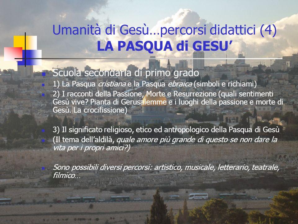 Umanità di Gesù…percorsi didattici (4) LA PASQUA di GESU Scuola secondaria di primo grado 1) La Pasqua cristiana e la Pasqua ebraica (simboli e richia