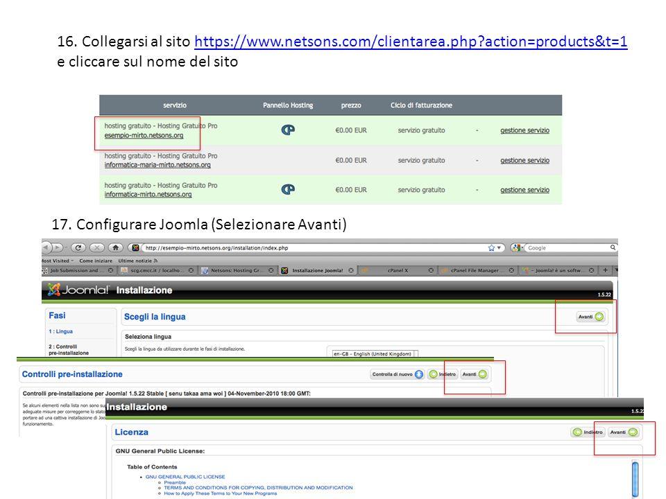 16. Collegarsi al sito https://www.netsons.com/clientarea.php?action=products&t=1 e cliccare sul nome del sitohttps://www.netsons.com/clientarea.php?a