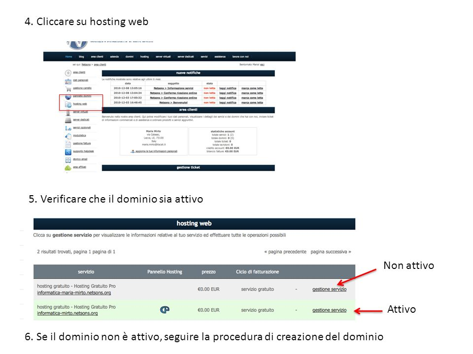 4.Cliccare su hosting web 5. Verificare che il dominio sia attivo Non attivo Attivo 6.