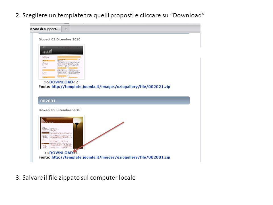 2.Scegliere un template tra quelli proposti e cliccare su Download 3.