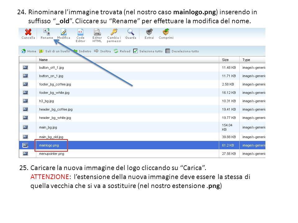 24.Rinominare limmagine trovata (nel nostro caso mainlogo.png) inserendo in suffisso _old.
