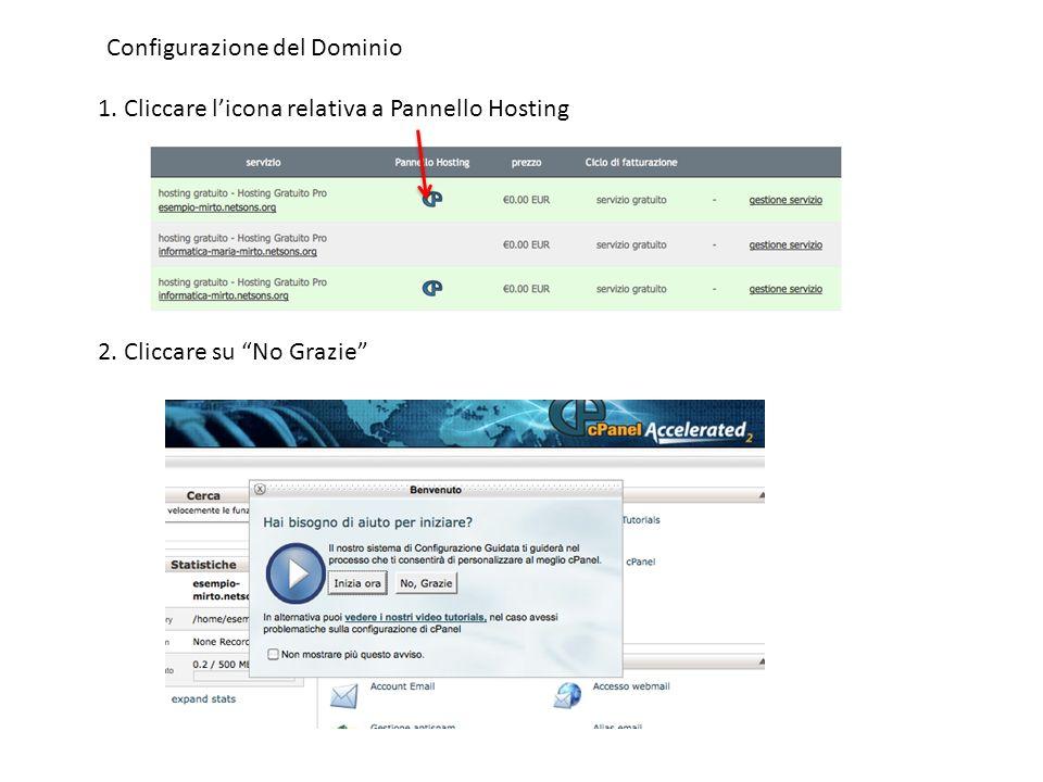 Configurazione del Dominio 1. Cliccare licona relativa a Pannello Hosting 2. Cliccare su No Grazie