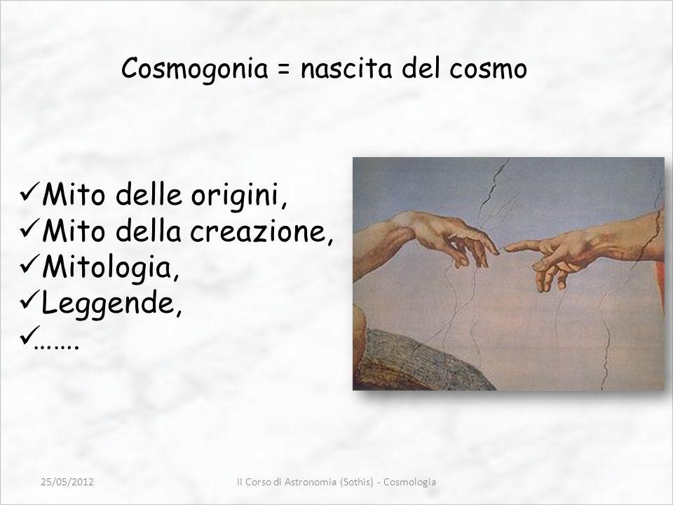 Cosmogonia = nascita del cosmo Mito delle origini, Mito della creazione, Mitologia, Leggende, ……. II Corso di Astronomia (Sothis) - Cosmologia25/05/20