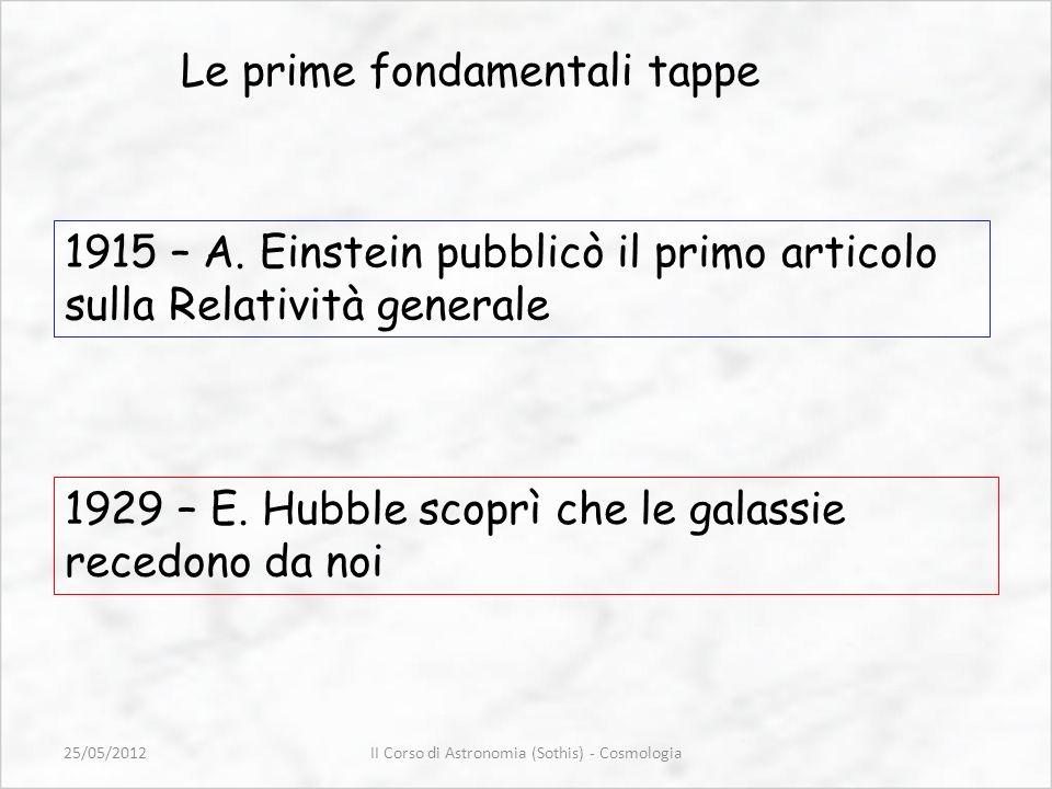 Le prime fondamentali tappe 1915 – A. Einstein pubblicò il primo articolo sulla Relatività generale 1929 – E. Hubble scoprì che le galassie recedono d