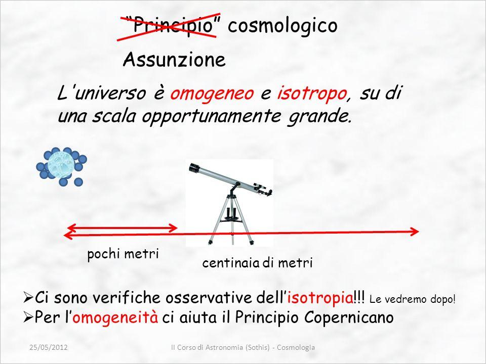 Principio cosmologico Assunzione L'universo è omogeneo e isotropo, su di una scala opportunamente grande. pochi metri centinaia di metri Ci sono verif