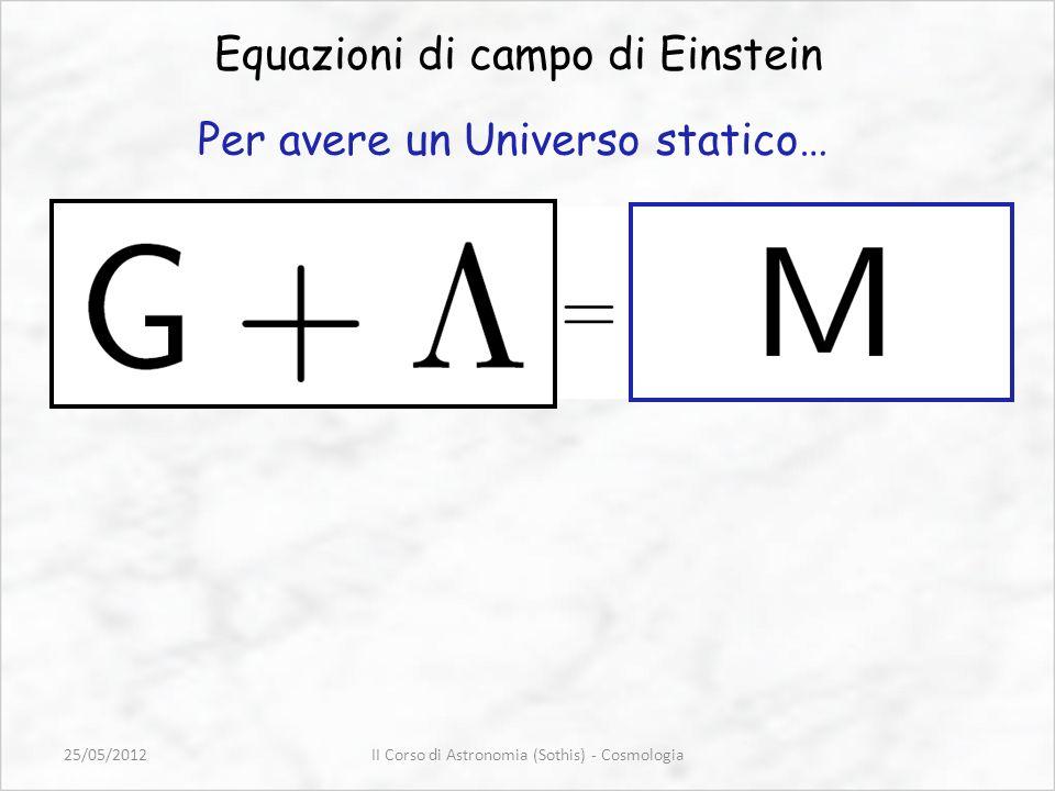 Equazioni di campo di Einstein Per avere un Universo statico… II Corso di Astronomia (Sothis) - Cosmologia25/05/2012
