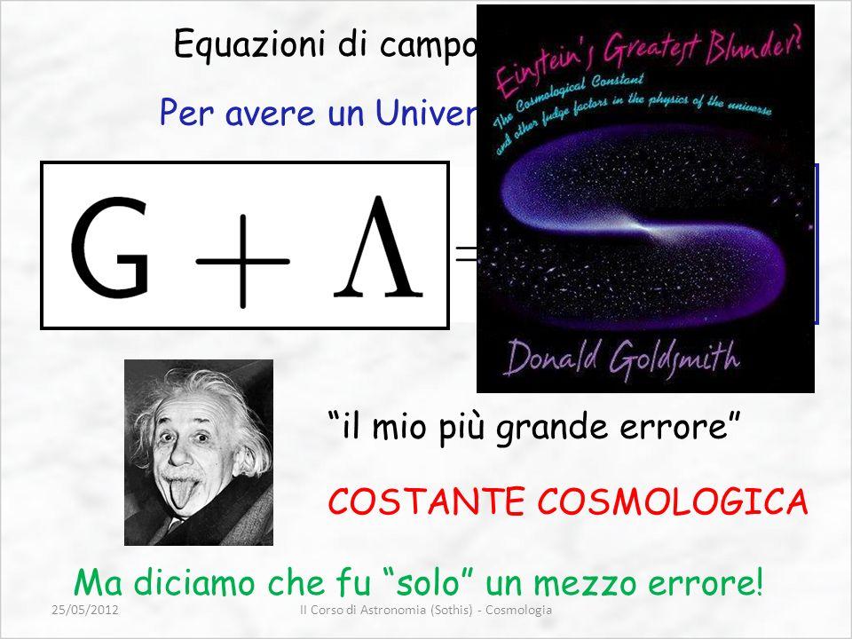 Equazioni di campo di Einstein il mio più grande errore COSTANTE COSMOLOGICA Per avere un Universo statico… Ma diciamo che fu solo un mezzo errore! II