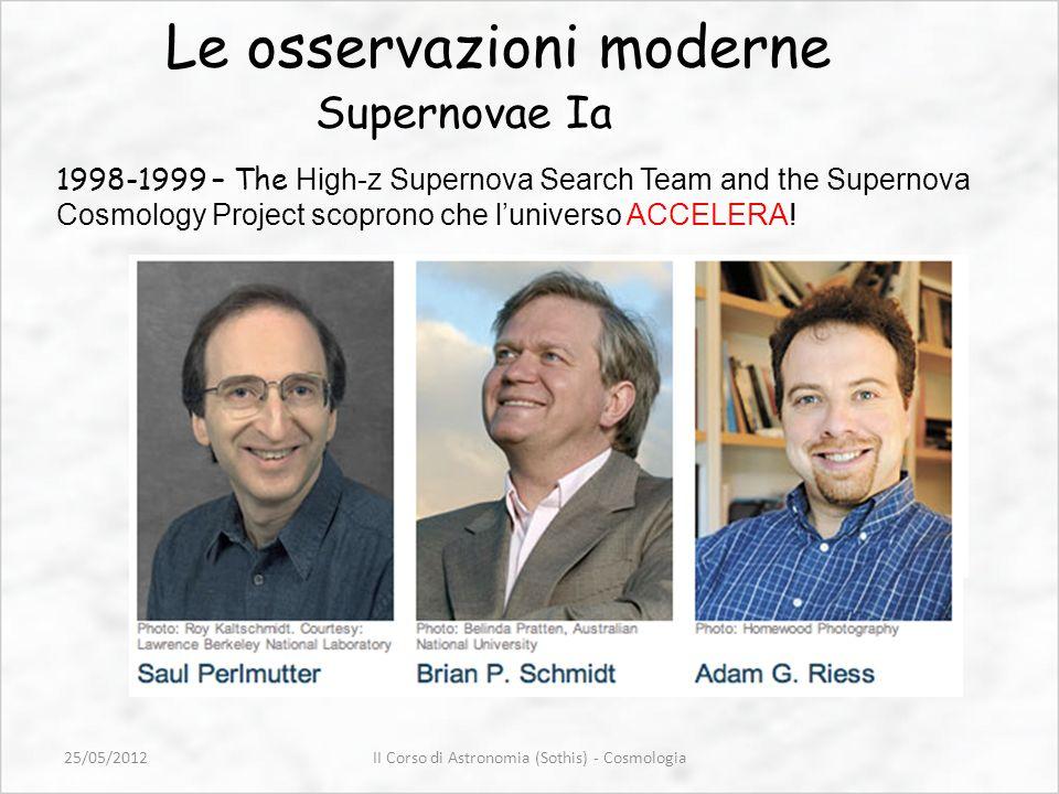 Le osservazioni moderne Supernovae Ia 1998-1999 – The High-z Supernova Search Team and the Supernova Cosmology Project scoprono che luniverso ACCELERA