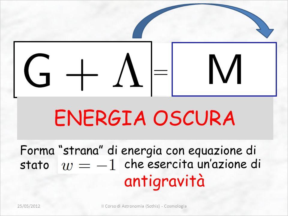 Forma strana di energia con equazione di stato ENERGIA OSCURA che esercita unazione di antigravità II Corso di Astronomia (Sothis) - Cosmologia25/05/2