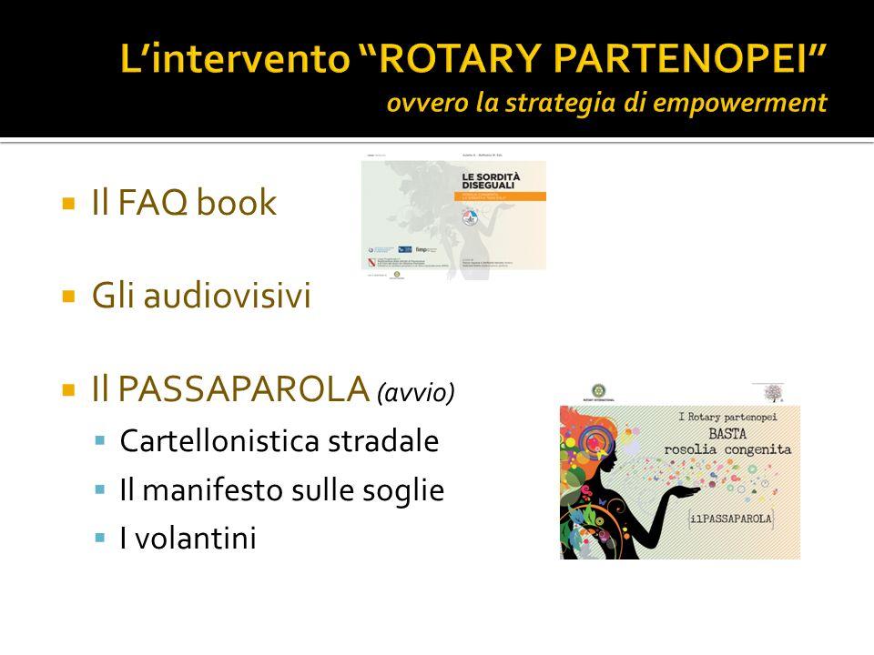 Il FAQ book Gli audiovisivi Il PASSAPAROLA (avvio) Cartellonistica stradale Il manifesto sulle soglie I volantini