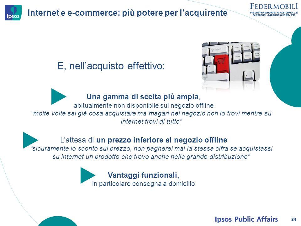 Internet e e-commerce: più potere per lacquirente E, nellacquisto effettivo: 34 Una gamma di scelta più ampia, abitualmente non disponibile sul negozi