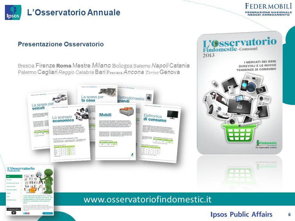 6 LOsservatorio Annuale www.osservatoriofindomestic.it Presentazione Osservatorio Brescia Firenze Roma Mestre Milano Bologna Salerno Napoli Catania Pa