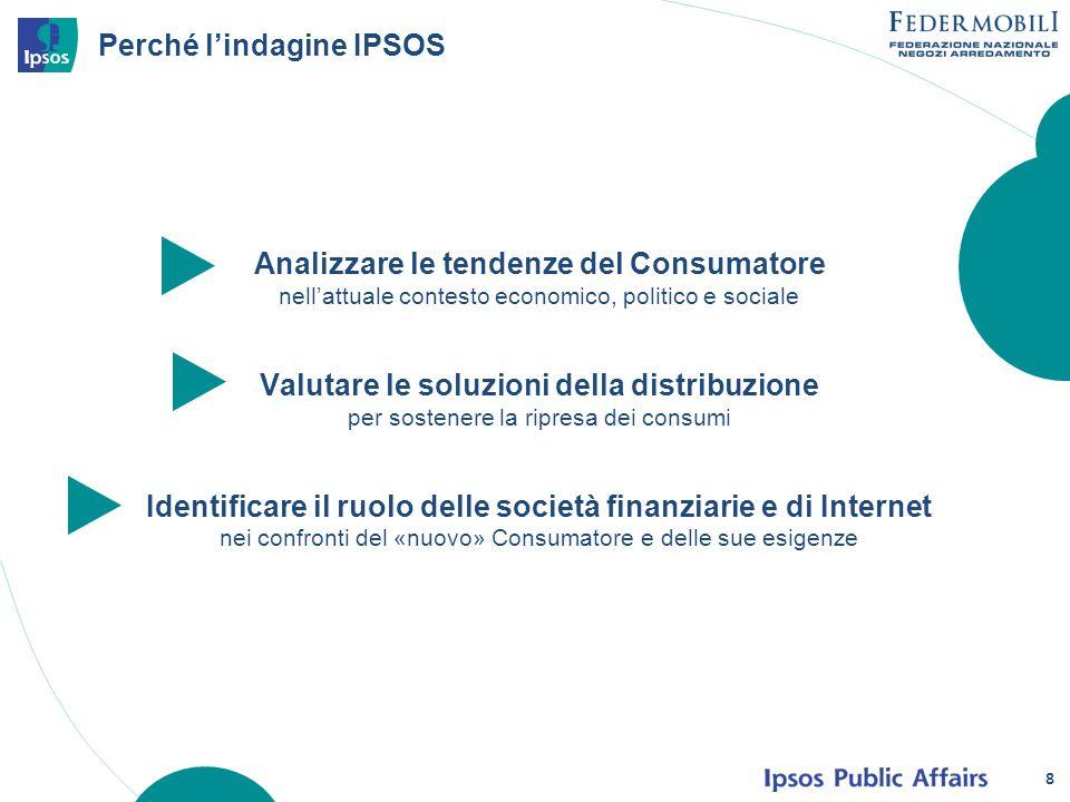 8 Perché lindagine IPSOS Analizzare le tendenze del Consumatore nellattuale contesto economico, politico e sociale Valutare le soluzioni della distribuzione per sostenere la ripresa dei consumi Identificare il ruolo delle società finanziarie e di Internet nei confronti del «nuovo» Consumatore e delle sue esigenze