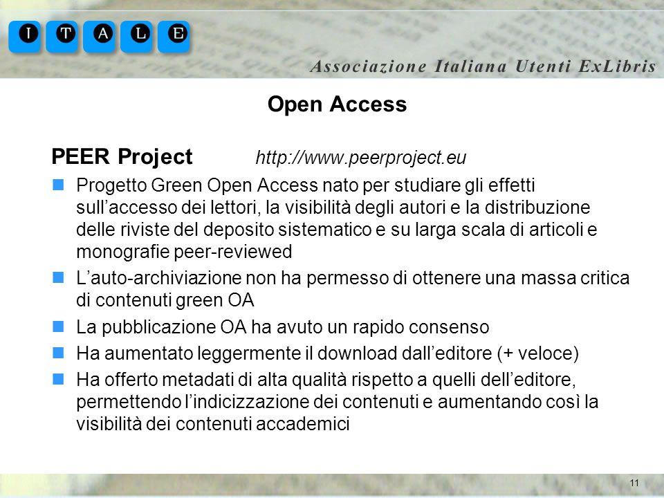 11 Open Access PEER Project http://www.peerproject.eu Progetto Green Open Access nato per studiare gli effetti sullaccesso dei lettori, la visibilità