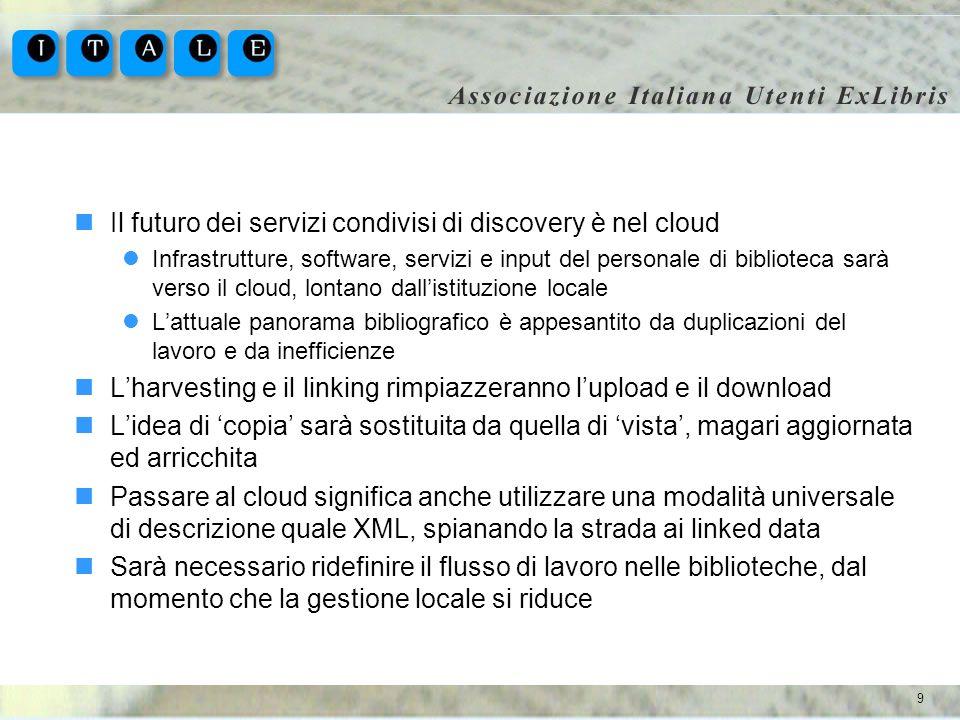 9 Il futuro dei servizi condivisi di discovery è nel cloud Infrastrutture, software, servizi e input del personale di biblioteca sarà verso il cloud,