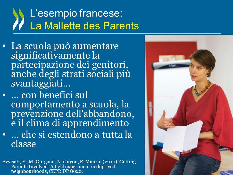Lesempio francese: La Mallette des Parents La scuola può aumentare significativamente la partecipazione dei genitori, anche degli strati sociali più s